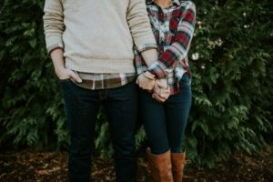 couple in plaid